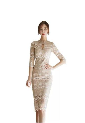 Buy Crystal Korea Fashion New Temperament Slim Long Slit Lace Dress