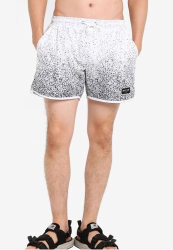 Nicce London white Speckle Fade Swim Shorts NI146AA11LMUMY_1