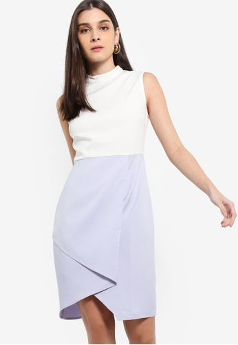 ZALORA 白色 and 藍色 Colourblock High Neck Dress 57347AA7D316F0GS_1