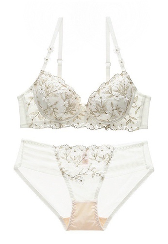 ZITIQUE white French Adjustable Embroidered Floral Lace Bra Set-White 4CB2EUSACA232DGS_1