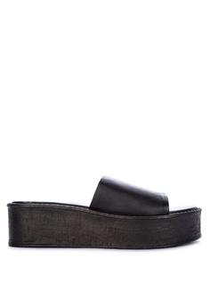 c8fff0ec632 Steve Madden black Sandy Leather Solid Tone Wedge Slides F905DSH28D885AGS 1