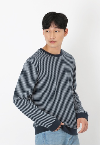 A for Arcade navy Crew Neck Stripe Sweater in Navy 1D4BDAACB7EFFDGS_1