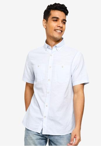LC Waikiki blue Regular Fit Short Sleeve Poplin Shirt 76BFCAA2DFC8AAGS_1