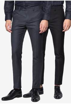 Skinny-Fit Formal Trousers with Contrast Band (2in1)
