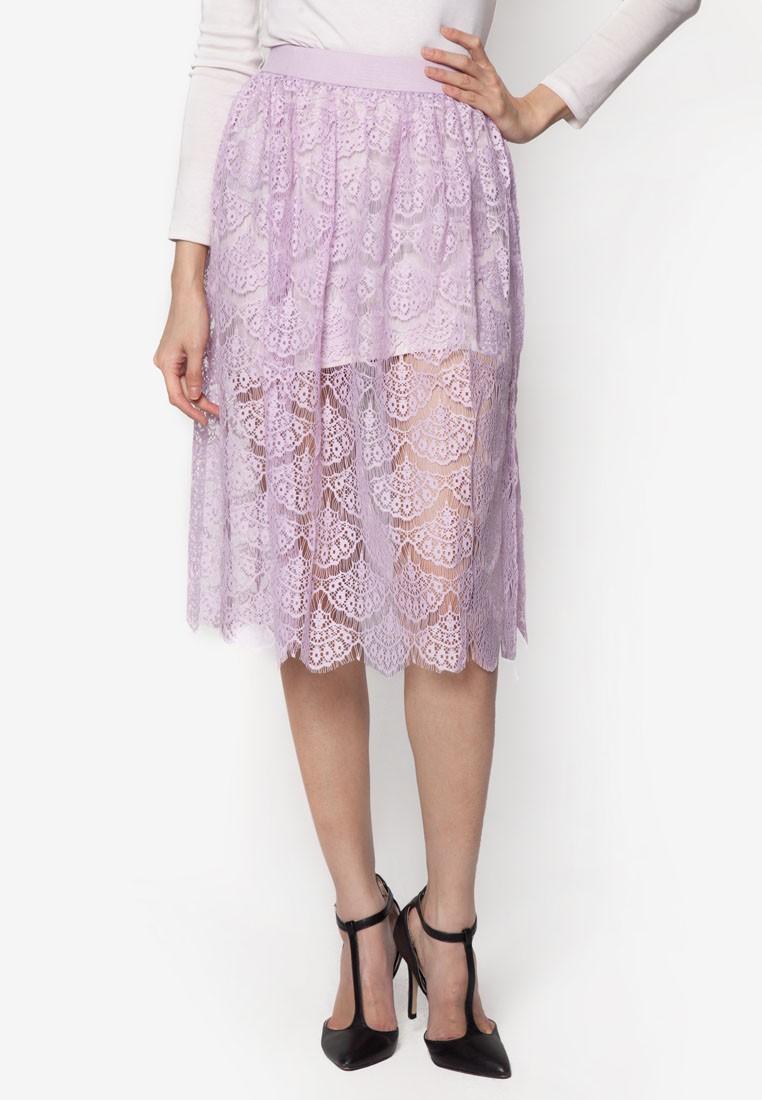Pattern Sheer Lace Midi Skirt