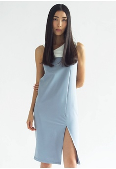 ba5f90ed54f1f8 SALIENT LABEL white and blue Winchester Bodycon Asymmetric Neckline Midi  Dress in Mist A85A2AAE2EDC3EGS 1