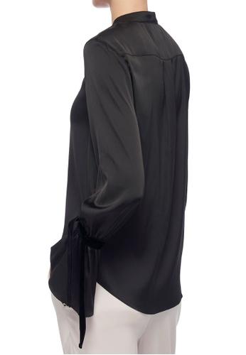 CK CALVIN KLEIN black Lightweight Charmeuse Tie Blouse 28E7DAA29EA4EBGS_1