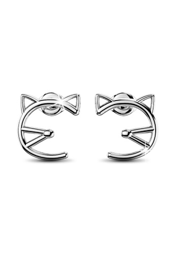 Bullion Gold gold BULLION GOLD Feline Cute Cat White Gold Layered Earrings A80FFAC38ACD99GS_1
