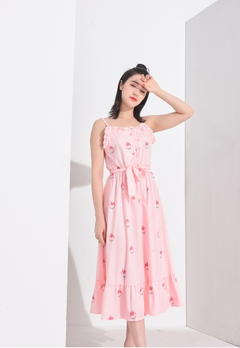 Zafiti pink Printed Sling Dress 26E83AA563B14FGS_1