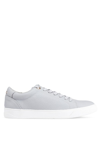 TOPSHOP 灰色 Curly Lace Up Trainers F9294SH6B15A37GS_1