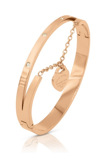 SO SEOUL gold Valeria Roman Numeral Hand Chain Heart Rose Gold Hinged Bangle 6BDCAAC8300F25GS_1