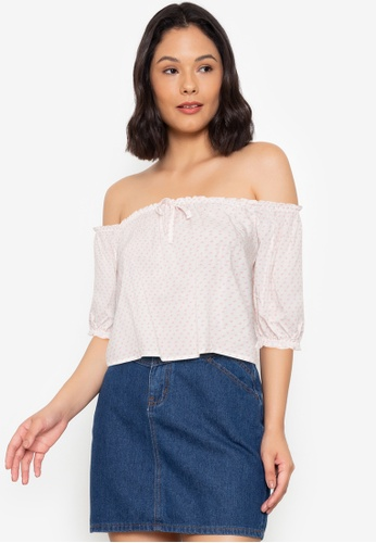 Seventh Cherie white Off Shoulder Top With Ribbon Detail D4567AA8EED3EBGS_1