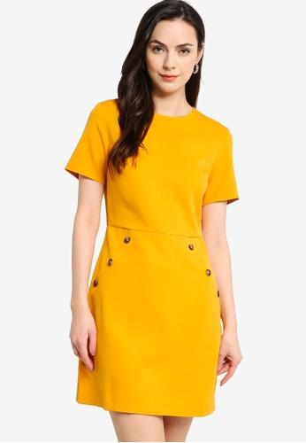 ZALORA WORK yellow Button Detail Mini Dress B391CAADBD0679GS_1