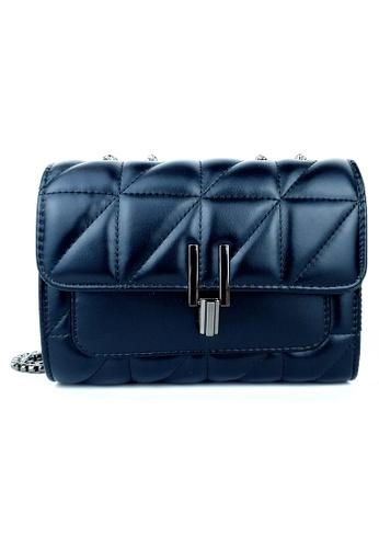 BELLE LIZ 黑色 Unique Chain Classy Ladies PU Crossbody Bag Black 0448CACF0AC097GS_1