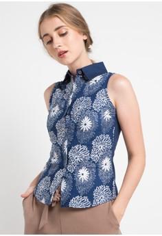 a58b449b713 POP U blue Chrysantemum Sleeveless Shirt 865E5AA5D2CC34GS_1