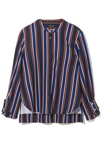 tout à coup navy Stripe curve hem shirt 744D4AA6C3F058GS_1