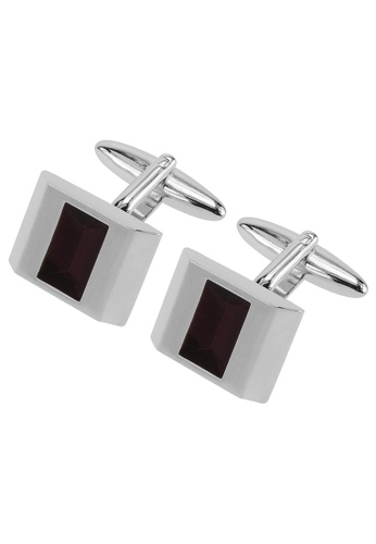 CUFF IT red Silver Transparent Red Enamel Cufflinks CU047AC63HWUHK_1