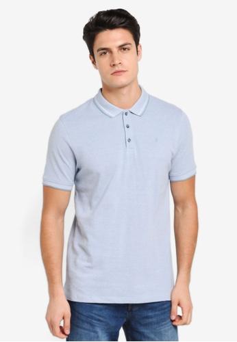 Burton Menswear London 藍色 Two-Tone Pique Polo Shirt BU964AA0T1HYMY_1