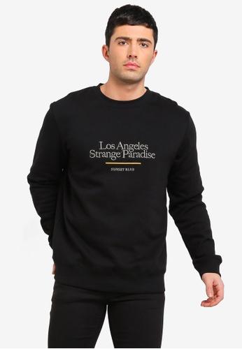 Cotton On 黑色 Crew Fleece Sweatshirt D7E83AA82583DFGS_1