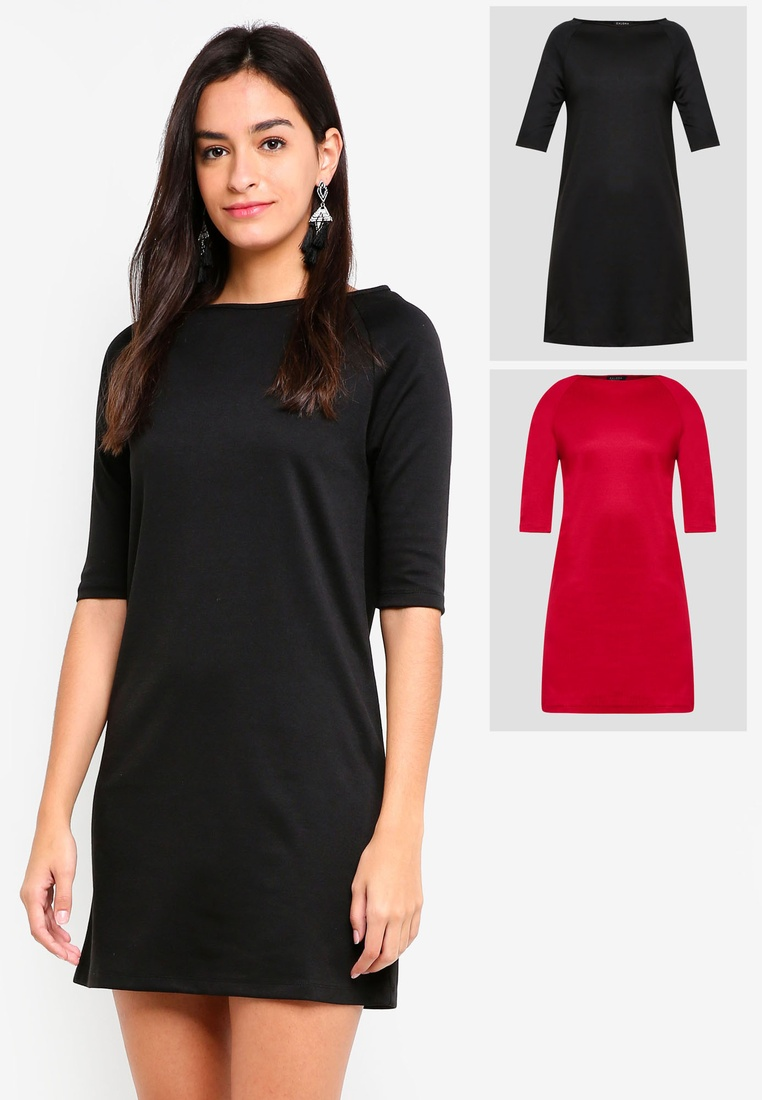 2 Shift pack Burgundy Basic Sleeves ZALORA BASICS Black Dress Raglan arHaxI1qw