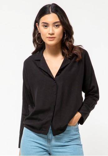 COLORBOX black Black V-Neck Shirt 40573AA3ADF16FGS_1