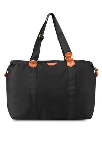 NUVEAU black Pu-Trimmed Nylon Travel Bag NU245AC0SRYOMY_1