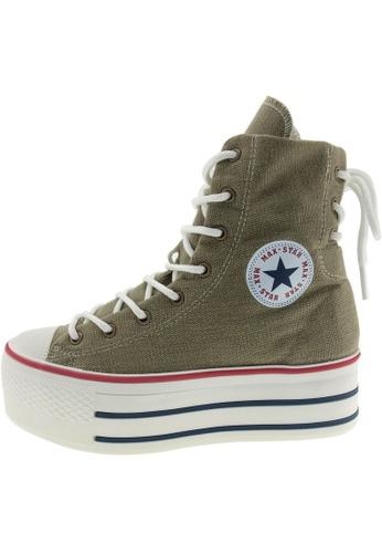 Maxstar 綠色 新款韩国鞋C50-Back-3H時尚帆布布混合女綠色 US Women Size MA345SH73GUGTW_1