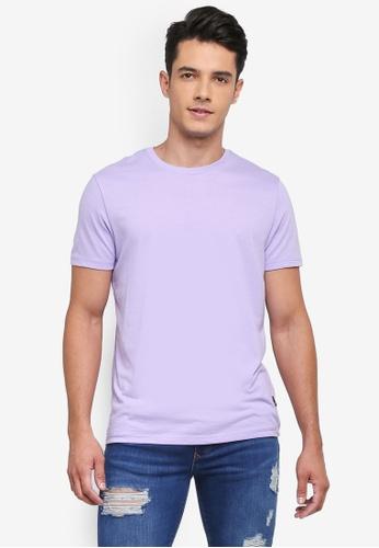 Burton Menswear London 紫色 Lilac Crew Neck T-Shirt 9DE6DAA4D58110GS_1