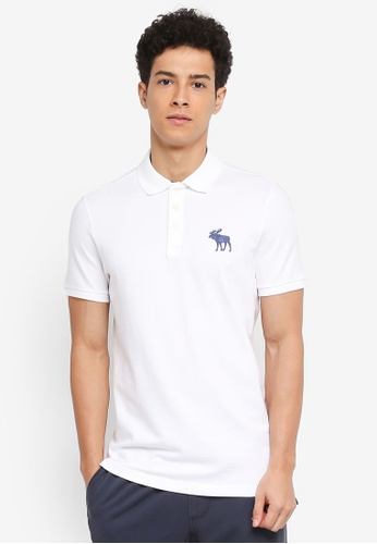 Abercrombie & Fitch white Exploded Icon Polo Shirt 081DAAA7A57A2FGS_1
