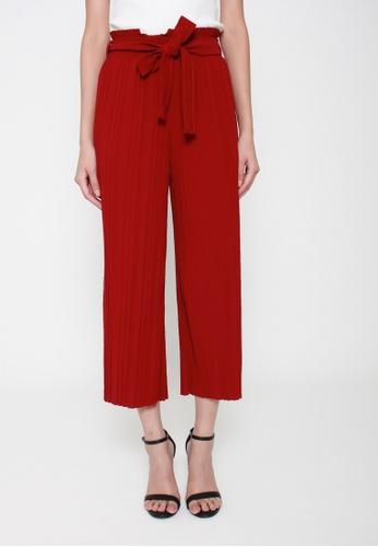 Sophialuv red Pretty Pleats Wide Leg Culottes in Red 9E579AAD77269DGS_1