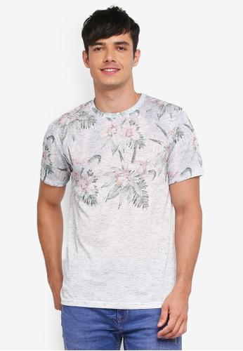 Burton Menswear London grey Grey Textured Floral Fade T-Shirt CED18AA3341346GS_1