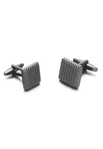 Kings Collection black Black Square Pattern Cufflinks (KC20318) F3B8AAC66097C1GS_1