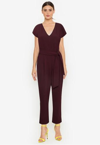 Twenteen red Short Sleeves V-Neck Culotte Jumpsuit 2D601AAD437EC5GS_1