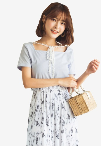 Tokichoi blue Square Neck Blouse with Lace Tie 9A1F1AA59265F8GS_1