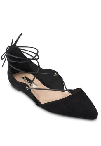 Sapesprit 高雄phire 尖頭繫帶平底鞋, 女鞋, 鞋