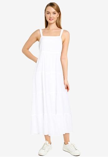 ABERCROMBIE & FITCH white Trapeze Midaxi Dress 6CC4CAA8A65691GS_1