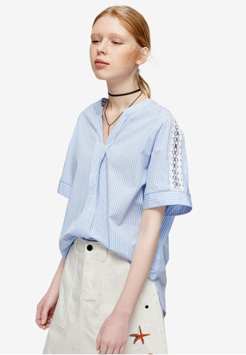 Hopeshow blue V Neck Lace Sleeved Blouse 010D0AAA250300GS_1