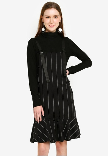Hopeshow black Suspender Striped Dress A110EAAC38589AGS_1