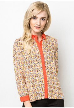 Button Down Long Sleeves Printed Top