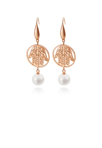 Glamorousky white Fashion Personality Plated Rose Gold Round Devil Hand 316L Stainless Steel Earrings with Imitation Pearls E87CAACF484F4BGS_1