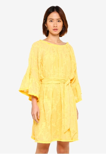 LOST INK yellow Ruffle Sleeve Embroidered Mini Dress 0B0A6AAF4910BDGS_1