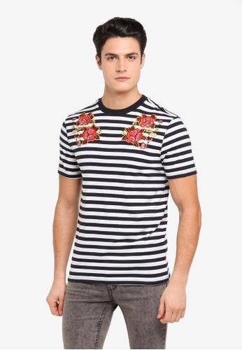 Topman 白色 條紋花卉刺繡T恤 TO413AA0T1NNMY_1
