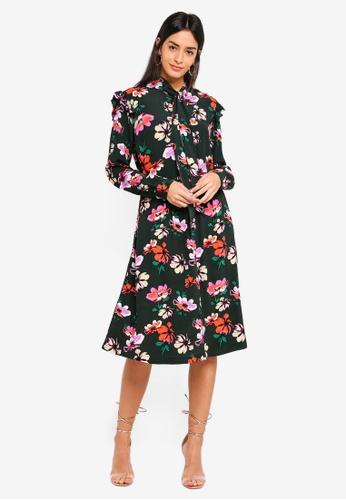 Modstrom green Julie Long Print Dress 78106AAF36F2A8GS_1