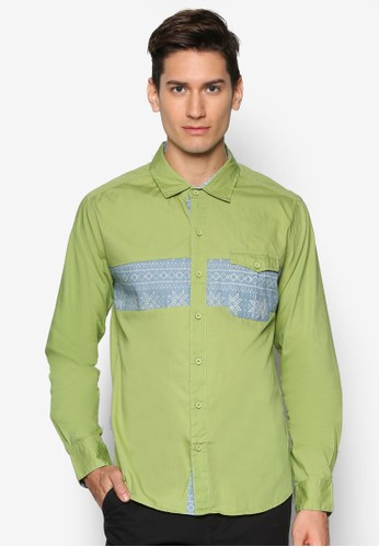 印花拼接口袋長袖襯esprit cn衫, 服飾, 襯衫