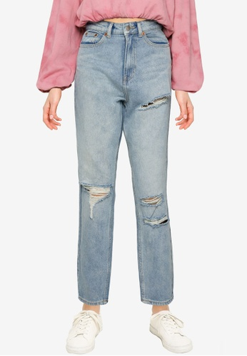Public Desire blue Ripped Mom Jeans 2A5A7AA69ADB9DGS_1