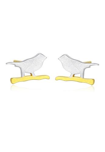 SUNRAIS gold High quality Silver S925 golden bird earrings 5185DAC47866EAGS_1