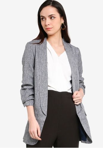 ZALORA WORK navy Ruched Sleeves Blazer 10E58AAD7E7AF3GS_1