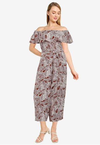 FORCAST brown Kaley Off-Shoulder Jumpsuit 4F751AA7800F1EGS_1