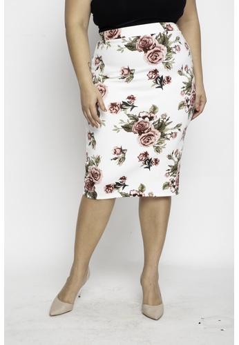 Ashley Collection white Plus Size Floral Print Zipper Back Midi Skirt B0F9EAA0EF2B5FGS_1