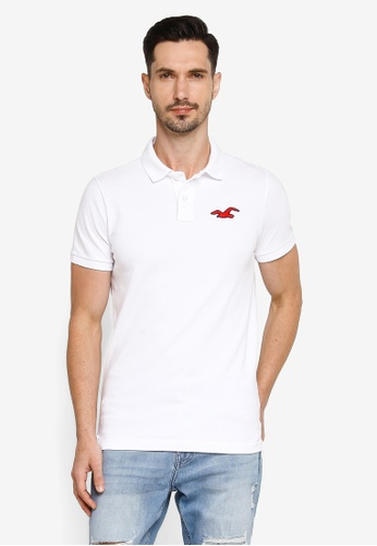 Hollister white Core Exploded Icon Patch Polo Shirt ED9DCAA0A201B1GS_1